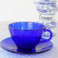 Vintage French Duralex Vereco Cobalt Tea Cup and Saucer Set, Tempered Glass, Rivage Swirled Pattern, Tea Parties, Weddings, 1970's