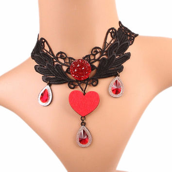 Women Retro Goth Black Lace Necklace Heart Collar Choker Victorian Vintage Gothic Chain Pendant SM6