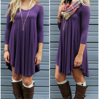 Never Let Go Plum V-Neck Quarter Sleeve Dress