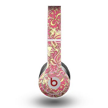 The Yellow and Pink Paisley Floral Skin for the Beats by Dre Original Solo-Solo HD Headphones