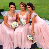 Fashionable 2017 Long Pink Chiffon Bridesmaid Dresses with Beaded Cap Sleeves Wedding Party Dresses for Maid of Honor Plu size