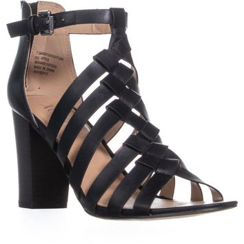 XOXO Baxter Steappy Heel Sandals, Black, 8.5 US / 40 EU