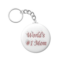 World's #1 Mom 3D Key Chains, Pink Keychain