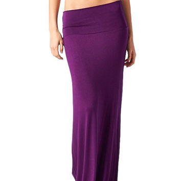 82 Days Women'S Rayon Span Plus Size Maxi Skirt - Solid