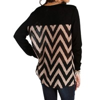 Black Chevron Back Top