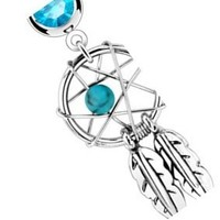 """Body Accentz® Belly Button 316L Surgical Steel Dream Catcher Woven Star Design with Bead and Feathers Fancy Navel Ring Dangle Body Jewelry 14g 3/8"""" HO713bl"""