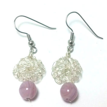 FREE SHIPPING Wire crochet earrings with glass beads: Rich purple 1