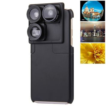 For Apple iPhone 6s Plus Camera Lens Photo Lover Touring Accessories Wide Angle 4 In1 Mobile Lens Phone Case For iphone 6 Case