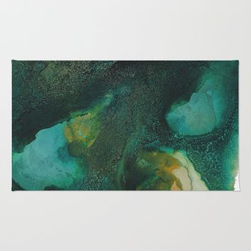 Green and Gold Rug by duckyb
