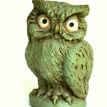 1960s Green Vintage Piggy Bank Owl made by Universal Statuary Corp, home decor, kids room desk accessories, collectors