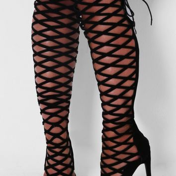 Intertwine Black Cut Out Boots | Pink Boutique
