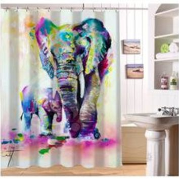 Watercolor Elephant Shower Curtain