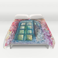 Doctor Who Tardis Duvet Cover by Jessi Adrignola