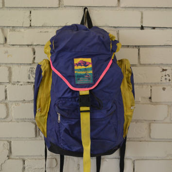 Vintage 80s Large Purple and Yellow Backpack by McKinley