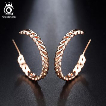 ORSA JEWELS Lead&Nickel Free Twist Wire Rose Gold Color Hoop Earrings Fashion White Brass Round Circle Earring for Women OE165