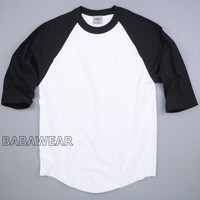 Shaka Plain Baseball Shirt Raglan 3/4 Sleeve Black White BABA Vintage Look