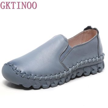 2017 new Women's Handmade Shoes Genuine Leather Flat slip-on Mother Shoes Woman Loafers Soft Single Casual Flats Shoes Women