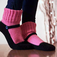Knit Slipper Sock Adult Maryjane Slipper Sox Raspberry Pink House Slippers Womens Slippers Home Slippers Black House Shoes Home Shoes