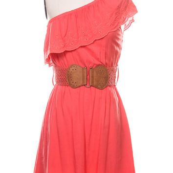 Western Coral One Shoulder Eyelet Dress with Belt