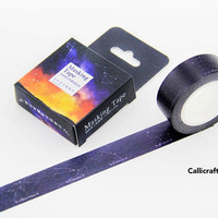 Constellation Galaxy Japanese Washi Tape, Black Masking Tape, Planner Stickers, Decorative Tape