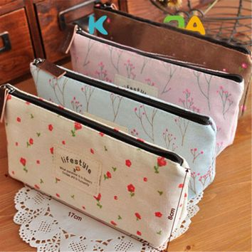Pencil Case Makeup Tool Canvas Bags Small Holder Cosmetic Student Vintage Bag