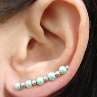 Ear Pins, Seafoam Mint Green Pearls.. on Luulla