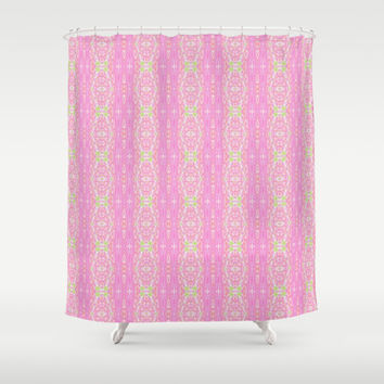 Pretty Pink And Green Abstract  Shower Curtain by KCavender Designs