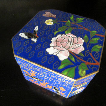 Asian Cloisonne Blue Hexagon Box Flower Bird Enameling