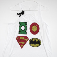 SALE -LARGE - Superhero Tank  - Ruffles with Love - Racerback Tank - Womens Fitness - Workout Clothing - Workout Shirts with Sayings