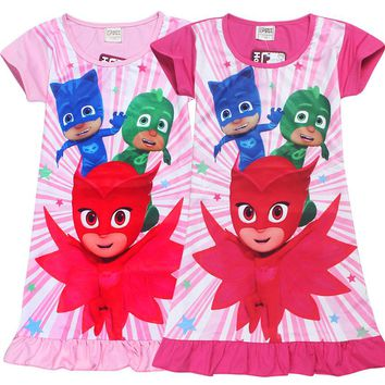 New Summer Girls Dress Kids Children Short Sleeve Cartoon PJ Masks Printed 2017 PJMASKS Pattern Baby Costume for Kids 3-8 Years