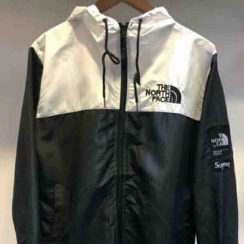 The north face New fashion women and men windbreaker coat White black