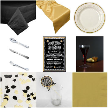 Gold Chalkboard Graduation Basic Party-in-a-box