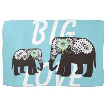 Paisley Elephant Mother and Child Cute Dish Towels: Girly Wild Animal Kitchen Towels: Her Birthday, Mother's Day, or Baby Shower Gift Idea