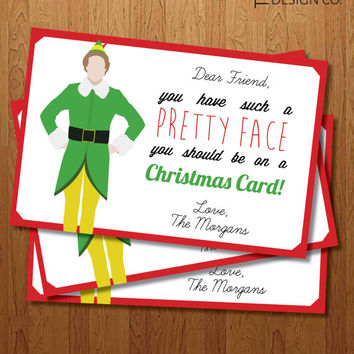 "Christmas Card - Elf - Printable - Holiday Card - Happy Holidays - ""You have such a pretty face, You Should be on a christmas Card"""