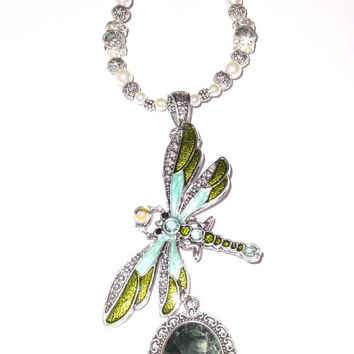 Wedding Bouquet Memorial Photo Charm Green Blue Dragonfly Green Crystals Pearls Tibetan Beads - FREE SHIPPING