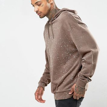 ASOS Oversized Hoodie With Paint Speckle Print