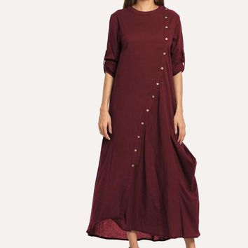 Roll Up Sleeve Button Front Longline Dress