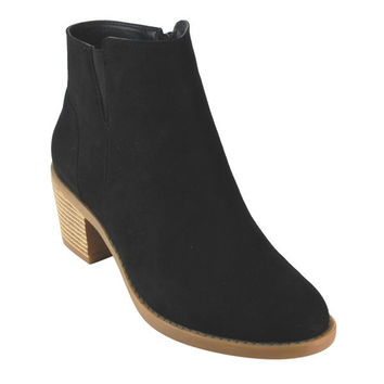 """Kimberly"" Simple Low Stacked Heel Elastic Sides Faux Suede Booties - Black"