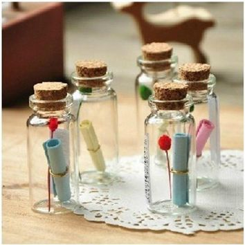 DCCKL72 Cheapest 50Pcs 0.5ml Mini Clear Glass Bottle Vials Empty Sample Jars with Cork Stopper Message Vial Weddings Wish Bottle
