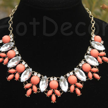 Coral necklace Statement Necklace Bib necklace holiday jewelry wedding jewelry Rhinestone necklace holiday necklace gift for holiday