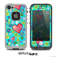 The Turquoise Vintage Vector Heart Buttons Skin for the iPhone 4 or 5 LifeProof Case
