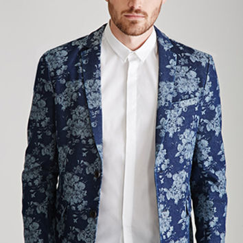 Rose-Patterned Denim Blazer