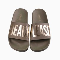 Beach Please Minimal Slides (Men's) - Army Green