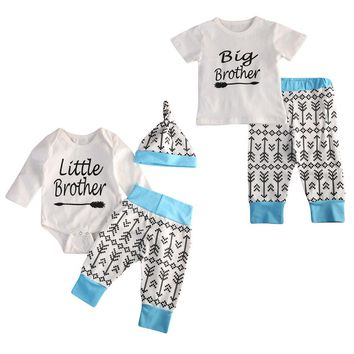 Baby Clothes Set Little Brother Romper Big Brother T-shirt Pants Clothes Outfits Set New Fashion Family Matching Outfits