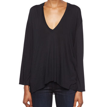 Modal Long-Sleeve V-Neck Top, Size: