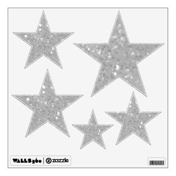 White Glittery Look Stars: Wall Decals