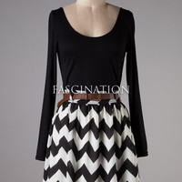 Charming Chevron Long Sleeve Dress - Black