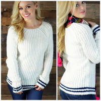 SZ LARGE Varsity Ivory Striped Knit Sweater