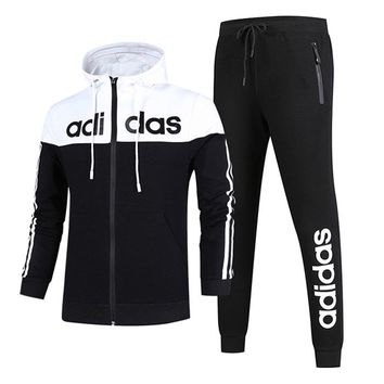 Adidas Women Men Couple Fashion Edgy Hooded Cardigan Jacket Coat Pants Trousers Set Two-Piece