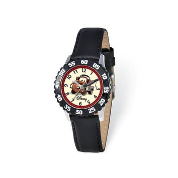 Disney Boys Cars Tow Mater Black Leather Band Time Teacher Watch